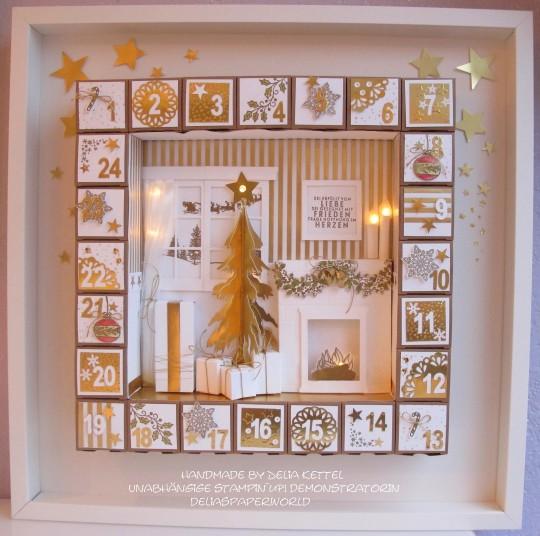 Adventskalender 1 weiß-gold 2015