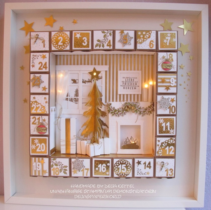 Adventskalender 1 weiß-gold 2015