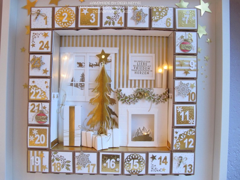 Adventskalender 2 weiß-gold 2015