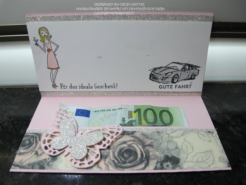 Geldscheinkarte Schmetterling offen