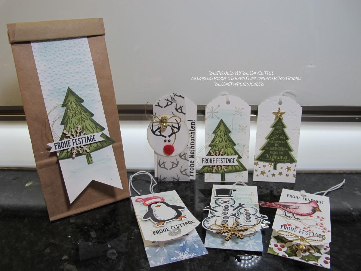 Weihnachtliche Geschenkanhänger # 3 bis #6 mit Stampin ´UP!